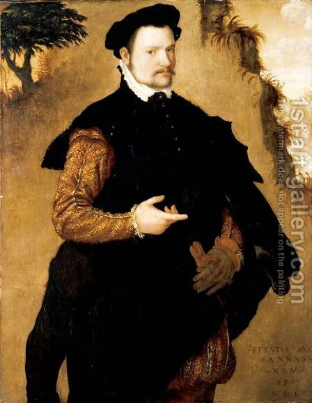 Portrait Of A Gentleman, Three-Quarter Length, Wearing An Elaborately Embroidered Doublet And A Fur-Trimmed Black Cape by (after) Lambert Sustris - Reproduction Oil Painting