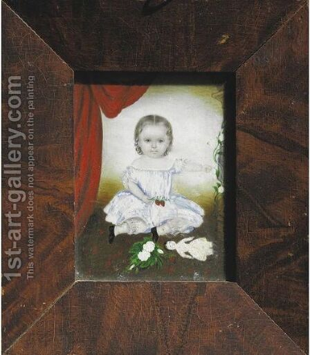 A Miniature Portrait Of A Little Girl With Strawberries, Roses, Bird Cage And Doll by Clarissa Peters - Reproduction Oil Painting