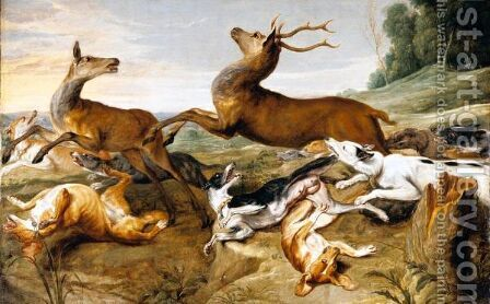 Deer Being Chased By Hounds by (after) Frans Snyders - Reproduction Oil Painting