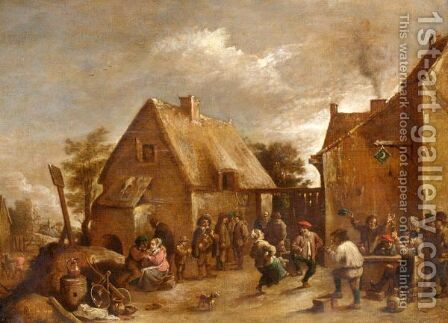 A Village Scene With Figures Merry Making And Dancing by (after)  David The Younger Teniers - Reproduction Oil Painting