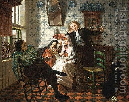 A Merry Company by (after) Christoffel Bisschop - Reproduction Oil Painting