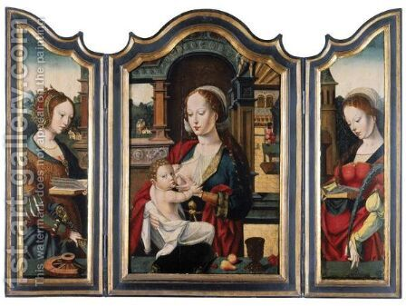 A Triptych - Central Panel The Virgin And Child - Left Wing Saint Catherine - Right Wing Saint Barbara by Antwerp School - Reproduction Oil Painting