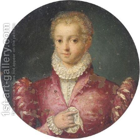 Portrait Of A Girl, Half Length, Wearing A Pink Dress With A White Ruff by (after) Tranquillo Cremona - Reproduction Oil Painting