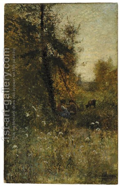 Pascolo D'Autunno by Giovanni Piumati - Reproduction Oil Painting