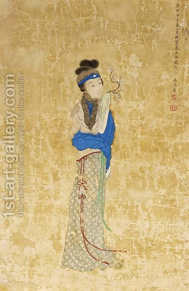 A standing lady holding a spray of cherry blossom by (after) Yi Zhiden - Reproduction Oil Painting