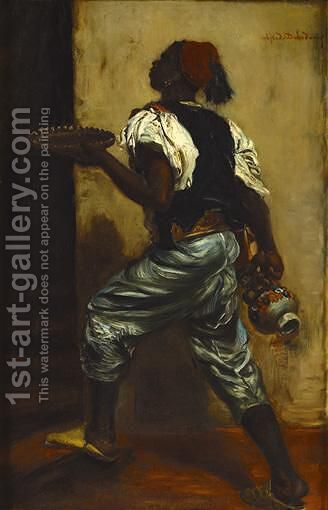 Young Black Man Holding A Tray by Alfred Dehodencq - Reproduction Oil Painting
