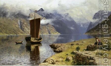 Awaiting His Return 2 by Hans Dahl - Reproduction Oil Painting