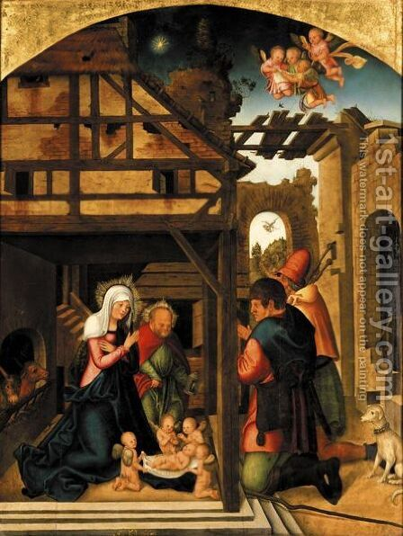 The Adoration Of The Shepherds by (after) Lucas The Elder Cranach - Reproduction Oil Painting