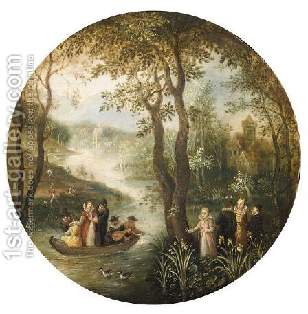 River Landscape, With An Elegant Company In A Boat, A Manor House Beyond by Antwerp School - Reproduction Oil Painting