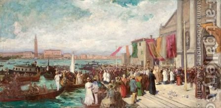 Venezia, La Festa Del Redentore by Italian School - Reproduction Oil Painting