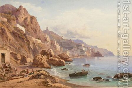Amalfi, Veduta Del Golfo by Hermann David Salomon Corrodi - Reproduction Oil Painting