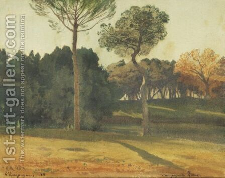 The Park Of Villa Borghese, Rome by Henri-Joseph Harpignies - Reproduction Oil Painting