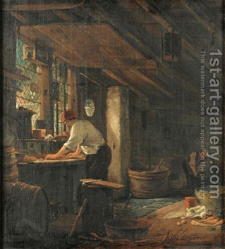 Kitchen Interior by Ecole Francaise, Xixeme Siecle - Reproduction Oil Painting