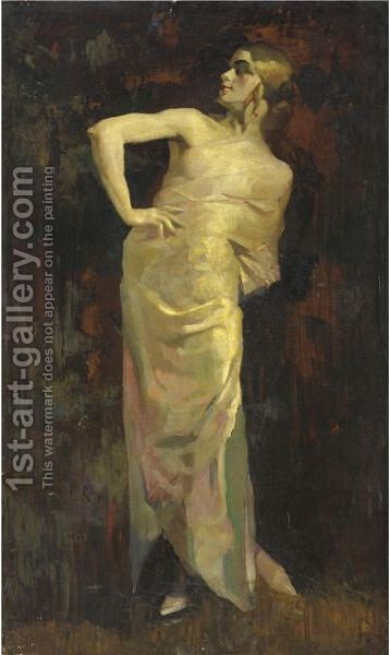 La Modella by Giuseppe Amisani - Reproduction Oil Painting