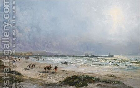 Fishermen On The Normandy Coast by Alexandre Rene Veron - Reproduction Oil Painting