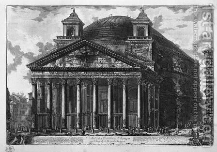 Veduta Del Panteon D'Agrippa by Giovanni Battista Piranesi - Reproduction Oil Painting