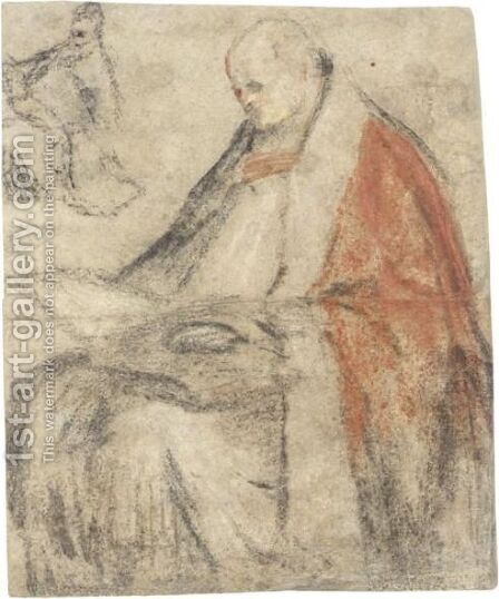 A Seated Bishop Reading From A Book On His Lap, And A Small Study Of The Same Figure, Wearing A Cap by Jacopo Bassano (Jacopo da Ponte) - Reproduction Oil Painting