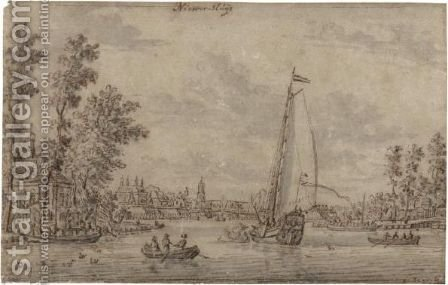 A States Yacht And Smaller Vessels Approaching The Town Of Nieuwersluis by Abraham Storck - Reproduction Oil Painting