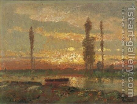 Paesaggio Al Tramonto by Beppe Ciardi - Reproduction Oil Painting
