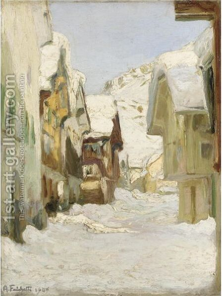 Paese Sotto La Neve by Alberto Falchetti - Reproduction Oil Painting
