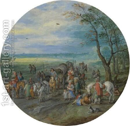 A Landscape With Travellers On A Road Passing A Small Copse by Jan The Elder Brueghel - Reproduction Oil Painting
