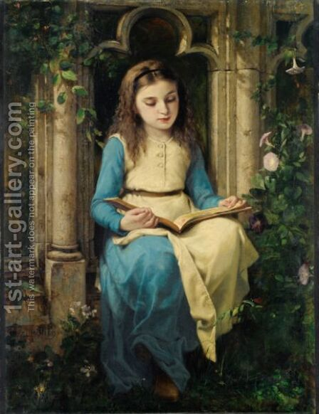 Jeune Fille Lisant by Charles Louis Lucien Muller - Reproduction Oil Painting