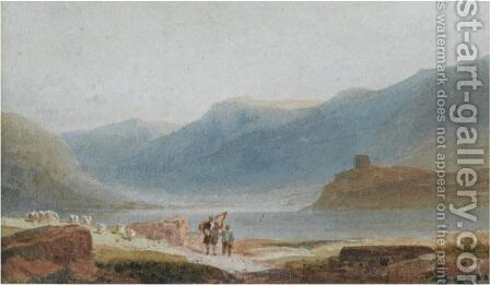 A Man With A Harp And His Son Near Dolbadern Castle, Llanberis by David Cox - Reproduction Oil Painting