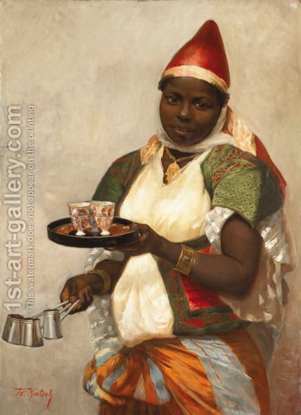 Kadija La Tunisienne Apportant Le Cafe by Hermann Katsch - Reproduction Oil Painting