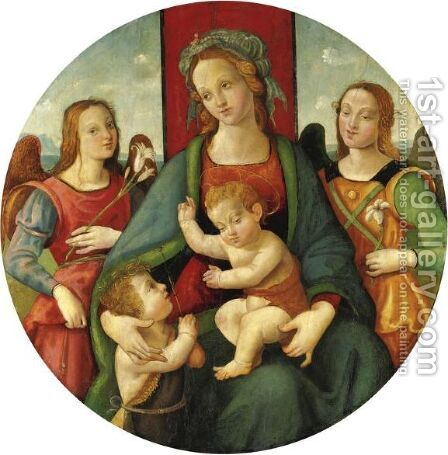 Madonna Con Bambino,  San Giovannino E Angeli by (after) Raphaello Del Garbo Capponi - Reproduction Oil Painting