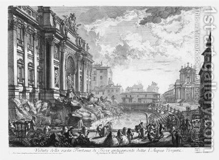 Fontana Di Trevi by Giovanni Battista Piranesi - Reproduction Oil Painting