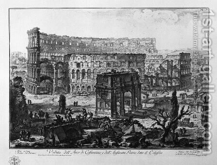 And Arch Of Constantine And The Colosseum by Giovanni Battista Piranesi - Reproduction Oil Painting