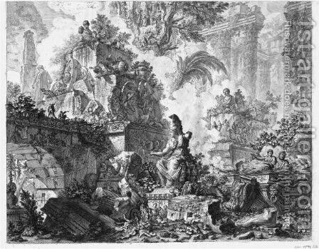 Frontispiece, With Statue Of Minerva by Giovanni Battista Piranesi - Reproduction Oil Painting