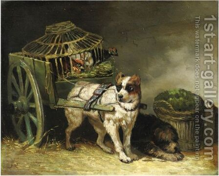 Coppia Di Cani Da Caccia by Henriette Ronner-Knip - Reproduction Oil Painting