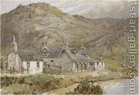 A cottage near the mountain by Charles G. Danford - Reproduction Oil Painting