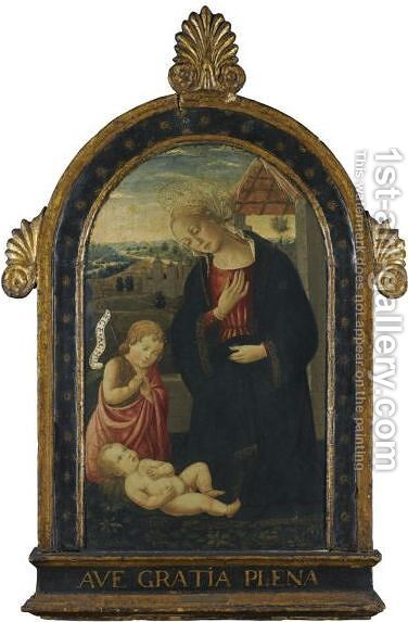 Madonna And Child With The Infant Saint John The Baptist by Bernardo Rossellino - Reproduction Oil Painting
