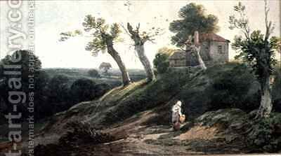 Landscape with a Cottage by Edward Bird - Reproduction Oil Painting