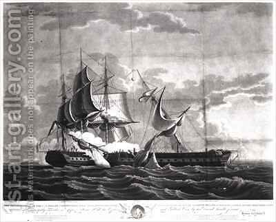 Representation of the US frigate, 'Constitution', Isaac Hull (1773-1843) Esq. Commander, Capturing His Britannic Majesty's Frigate, 'Guerriere', James R. Dacres, Esq. Commander by (after) Birch, Thomas - Reproduction Oil Painting