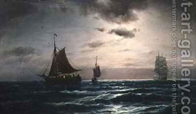 Shipping in Moonlit Waters by Carl Bille - Reproduction Oil Painting
