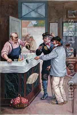 The Aperitif Hour at the Cafe, postman playing dice with a peasant by Biliotti - Reproduction Oil Painting