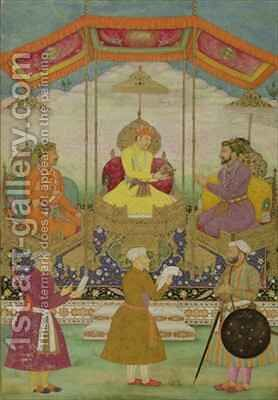 Mughal Emperor Akbar (c.1605) (centre) Symbolically Passing the Crown from His Son Jahangir to his Grandson Shah Jahan (1627-1658) by Bichtir - Reproduction Oil Painting