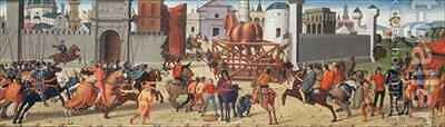 The Siege of Troy II, The Wooden Horse by di Antonio, (Utili da Faenza) Biagio - Reproduction Oil Painting