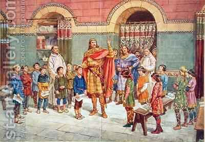 The Emperor Charlemagne (747-814) Visits a School by J. L. Beuzon - Reproduction Oil Painting