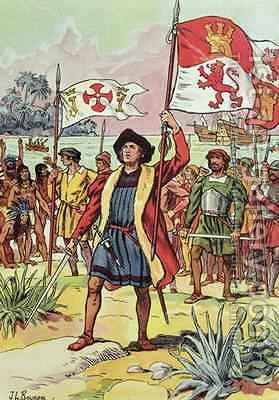 Christopher Columbus (1451-1506) plants the Spanish flag into the soil by J. L. Beuzon - Reproduction Oil Painting
