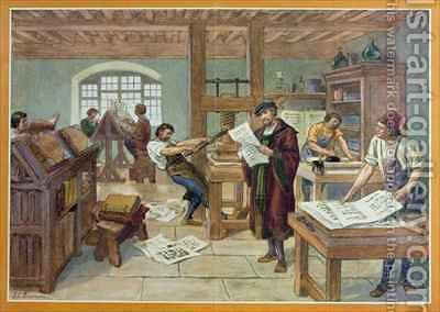 The Invention by Gutenberg of Moveable Type printing by J. L. Beuzon - Reproduction Oil Painting