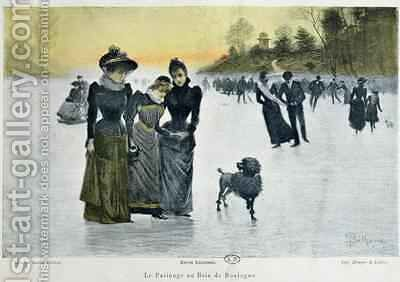 Skating in the Bois de Boulogne by (after) Bethune, Gaston - Reproduction Oil Painting