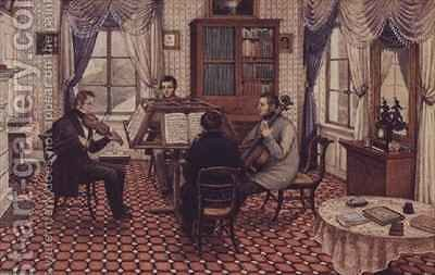 Anthony and Three Friends Playing a String Quartet by Mary Ellen Best - Reproduction Oil Painting