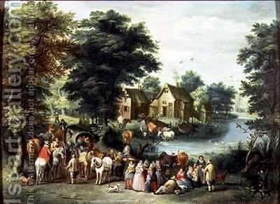 A Village Scene by Charles Beschey - Reproduction Oil Painting