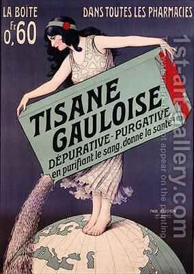 Poster advertising Tisane Gauloise by (after) Berthon, Paul - Reproduction Oil Painting
