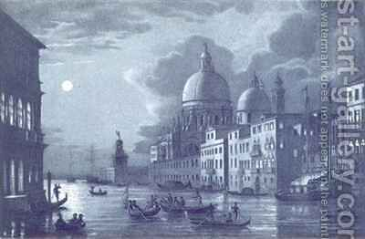 Nocturnal Scene of the Grand Canal and Santa Maria della Salute, Venice by (after) Berselli - Reproduction Oil Painting