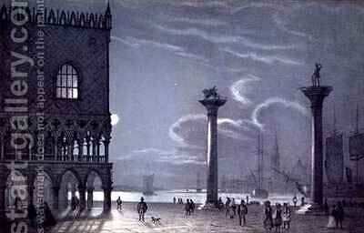 Nocturnal Scene of Palazzo Ducale and the Two Columns, Venice by (after) Berselli - Reproduction Oil Painting